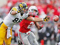 Ohio State Buckeyes safety Christian Bryant (2)  breaks up a pass intended for Iowa Hawkeyes tight end C.J. Fiedorowicz (86) in the first half at Ohio Stadium on October 19, 2013.  (Chris Russell/Dispatch Photo)