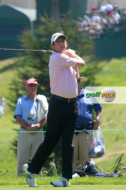 Peter Lawrie (IRL) tees off the 4th tee during Monday's Practice Day of the 112th US Open Championship at The Olympic Club, San Francisco,  California, 11th June 2012 (Photo Eoin Clarke/www.golffile.ie)