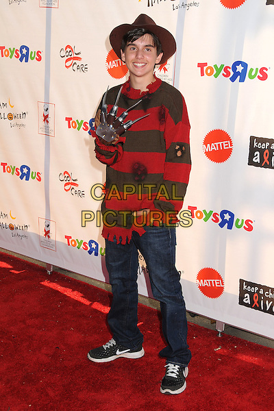 "Preston Strother.18th Annual ""Dream Halloween"" To Benefit The Children Affected By AIDS Foundation held at Barker Hangar, Santa Monica, California, USA, .29th October 2011 .hallowe'en costume dressed-up full length freddy kruger  hand freddie .CAP/ADM/BP.©Byron Purvis/AdMedia/Capital Pictures."