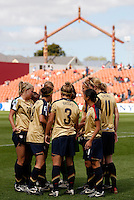 USA team huddle..FIFA U17 Women's World Cup, USA v Korea Republic, Waikato Stadium, Hamilton, New Zealand, Sunday 9 November 2008. Photo: Renee McKay/PHOTOSPORT