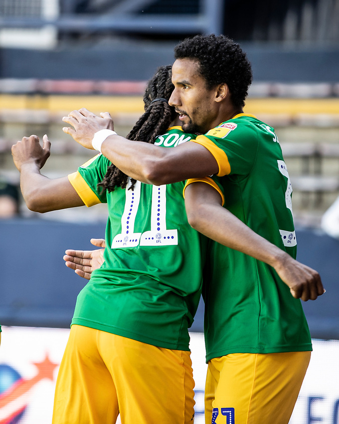 Preston North End's Scott Sinclair (right) celebrates scoring his side's first goal with team mate Daniel Johnson <br /> <br /> Photographer Andrew Kearns/CameraSport<br /> <br /> The EFL Sky Bet Championship - Luton Town v Preston North End - Saturday 20th June 2020 - Kenilworth Road - Luton<br /> <br /> World Copyright © 2020 CameraSport. All rights reserved. 43 Linden Ave. Countesthorpe. Leicester. England. LE8 5PG - Tel: +44 (0) 116 277 4147 - admin@camerasport.com - www.camerasport.com