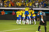 Miami, FL - Saturday, Nov 16, 2013: Brazil vs Honduras during an international friendly at Miami's Sun Life Stadium. Brazilians celebrate Hulk's goal.
