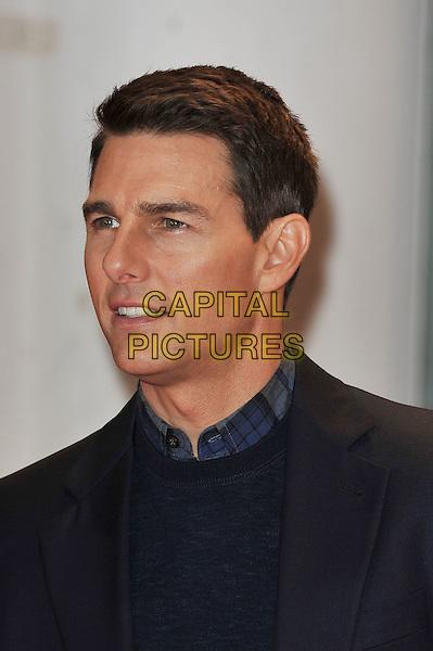 "Tom Cruise.The ""Mission : Impossible Ghost Protocol"" UK premiere, BFI Imax cinema, Waterloo, London, England..December 13th, 2011.Mi4 MI:4 headshot portrait black blue jumper sweater .CAP/MAR.© Martin Harris/Capital Pictures."