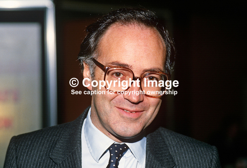 Michael Howard, MP, Conservative Party, junior environment minister, UK, 19871022MH1.<br /> <br /> Copyright Image from Victor Patterson, 54 Dorchester Park, <br /> Belfast, UK, BT9 6RJ<br /> <br /> t1: +44 28 9066 1296 (from Rep of Ireland 048 9066 1296)<br /> t2: +44 28 9002 2446 (from Rep of Ireland 048 9002 2446)<br /> m: +44 7802 353836<br /> <br /> e1: victorpatterson@me.com<br /> e2: victorpatterson@gmail.com<br /> <br /> www.victorpatterson.com<br /> <br /> Please see my Terms and Conditions of Use at www.victorpatterson.com. It is IMPORTANT that you familiarise yourself with them.<br /> <br /> Images used on the Internet must be visibly watermarked i.e. &copy; Victor Patterson within the body of the image and copyright metadata must not be deleted. Images used on the Internet have a size restriction of 4kbs and will be chargeable at current NUJ rates unless agreed otherwise.<br /> <br /> This image is only available for the use of the download recipient i.e. television station, newspaper, magazine, book publisher, etc, and must not be passed on to any third party. It is also downloaded on condition that each and every usage is notified within 7 days to victorpatterson@me.com<br /> <br /> The right of Victor Patterson to be identified as the author is asserted in accordance with The Copyright Designs And Patents Act (1988).