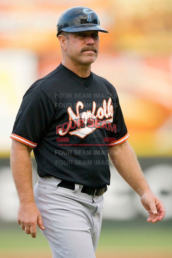 Norfolk Tides manager Gary Allenson #6 at Knights Stadium August 14, 2009 in Fort Mill, South Carolina. (Photo by Brian Westerholt / Four Seam Images)