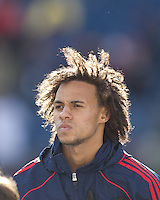 New England Revolution defender Kevin Alston (30). In a Major League Soccer (MLS) match, the New England Revolution defeated DC United, 2-1, at Gillette Stadium on March 26, 2011.