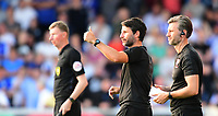 Lincoln City manager Danny Cowley, centre, and Lincoln City's assistant manager Nicky Cowley<br /> <br /> Photographer Chris Vaughan/CameraSport<br /> <br /> Football Pre-Season Friendly - Lincoln City v Sheffield Wednesday - Friday 13th July 2018 - Sincil Bank - Lincoln<br /> <br /> World Copyright &copy; 2018 CameraSport. All rights reserved. 43 Linden Ave. Countesthorpe. Leicester. England. LE8 5PG - Tel: +44 (0) 116 277 4147 - admin@camerasport.com - www.camerasport.com