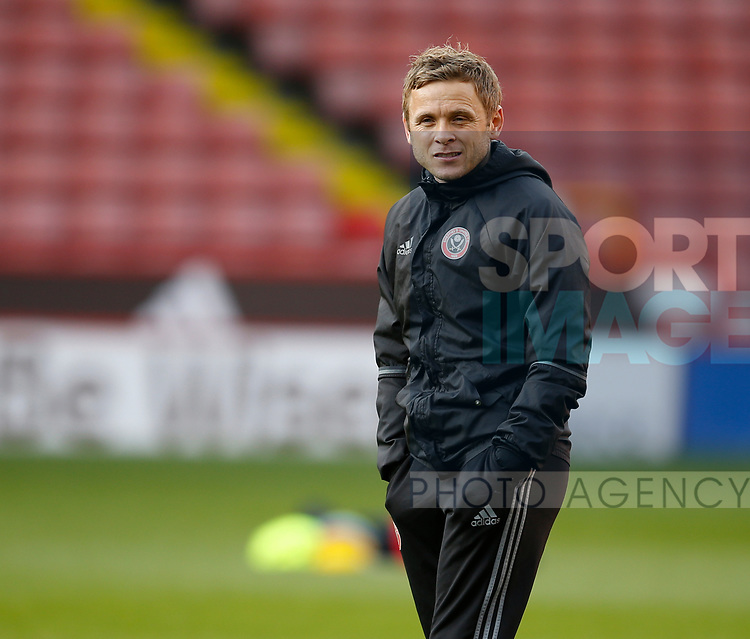 Sheffield Utd U18 coach Del Geary during the U18 Professional Development League 2 play off semi final match at  Bramall Lane, Sheffield. Picture date: April 21st 2017. Pic credit should read: Simon Bellis/Sportimage