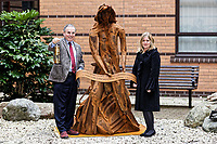 Pictured: (L-R) Andrew davies ABMU Chairman and artist Sarah Tombs. Monday 05 February 2018<br /> Re: A sculpture has been unveiled at Welsh Centre for Burns and Plastic Surgery in Morriston Hospital to commemorate its links with Port Talbot steelworks in Wales, UK.<br /> It was inspired by Welsh mythology and created from Tata steel by artist Sarah Tombs.<br /> The sculpture is of the legendary Lady of Llyn y Fan Fach and was unveiled by Abertawe Bro Morgannwg health board to mark the 70th birthday of the NHS.<br /> According to the Mabinogion and The Red Book of Hergest, she was mother of the Physicians of Myddfai, who used magical powers to heal the sick and symbolises &quot;regeneration and healing&quot;.