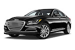 Stock pictures of low aggressive front three quarter view of a 2015 Hyundai Genesis 3.8 4 Door Sedan Low Aggressive