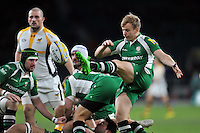 Scott Steele of London Irish box-kicks the ball. Aviva Premiership match, between London Irish and Wasps on November 28, 2015 at Twickenham Stadium in London, England. Photo by: Patrick Khachfe / JMP
