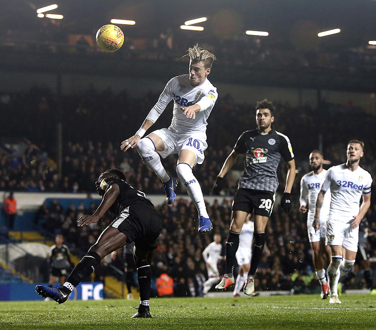 Leeds United's EzgjanAlioski vies for possession with Reading's Andy Yiadom<br /> <br /> Photographer Rich Linley/CameraSport<br /> <br /> The EFL Sky Bet Championship - Leeds United v Reading - Tuesday 27th November 2018 - Elland Road - Leeds<br /> <br /> World Copyright © 2018 CameraSport. All rights reserved. 43 Linden Ave. Countesthorpe. Leicester. England. LE8 5PG - Tel: +44 (0) 116 277 4147 - admin@camerasport.com - www.camerasport.com