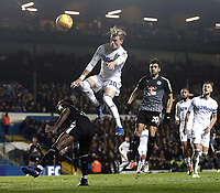 Leeds United's Ezgjan&nbsp;Alioski vies for possession with Reading's Andy Yiadom<br /> <br /> Photographer Rich Linley/CameraSport<br /> <br /> The EFL Sky Bet Championship - Leeds United v Reading - Tuesday 27th November 2018 - Elland Road - Leeds<br /> <br /> World Copyright &copy; 2018 CameraSport. All rights reserved. 43 Linden Ave. Countesthorpe. Leicester. England. LE8 5PG - Tel: +44 (0) 116 277 4147 - admin@camerasport.com - www.camerasport.com