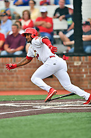 Johnson City Cardinals Liam Sabino (11) runs to first base during a game against the Kingsport Mets at TVA Credit Union Ballpark on June 28, 2019 in Johnson City, Tennessee. The Cardinals defeated the Mets 7-4. (Tony Farlow/Four Seam Images)