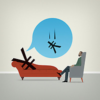Yen sign on psychiatrists couch worrying about falling value