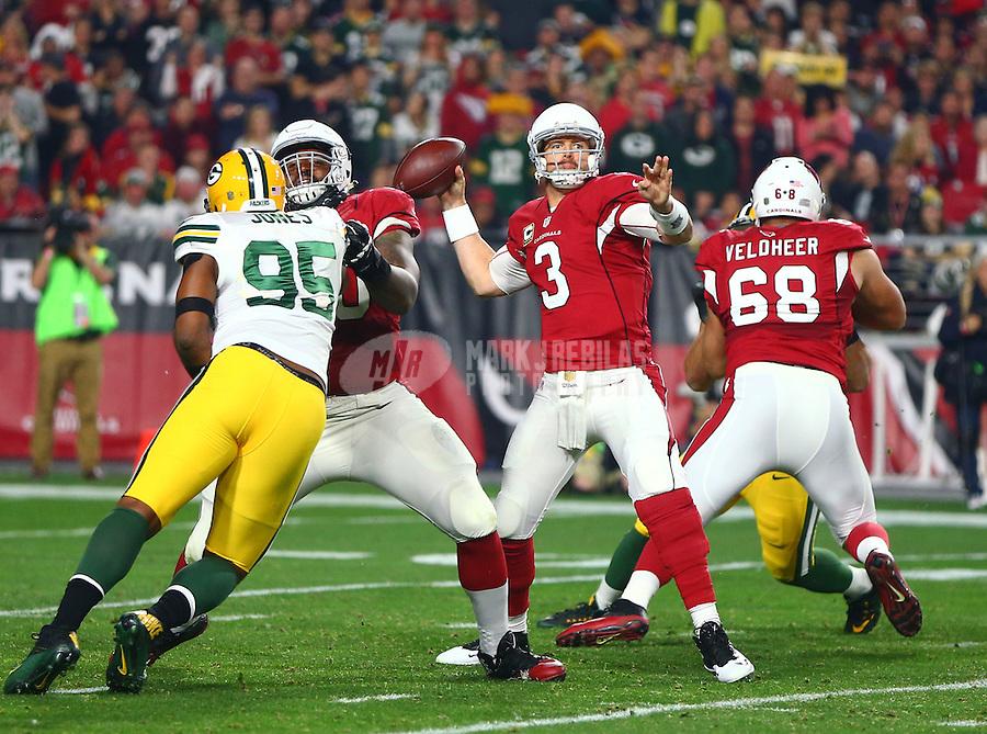 Jan 16, 2016; Glendale, AZ, USA; Arizona Cardinals quarterback Carson Palmer (3) against the Green Bay Packers during an NFC Divisional round playoff game at University of Phoenix Stadium. Mandatory Credit: Mark J. Rebilas-USA TODAY Sports