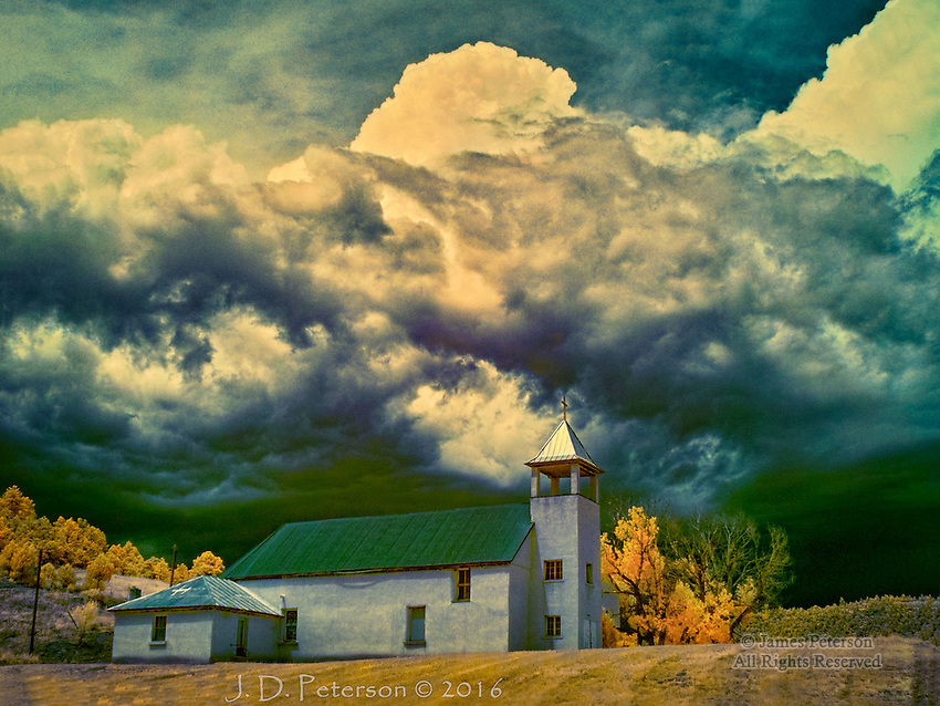 San Isidro St. Francis Catholic Church, Colorado (Infrared) ©2016 James D Peterson.  A storm cloud looms over this rural parish in the Spanish-settled region of southern Colorado.