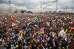 Hundreds of thousands of people gathered for Newroz, the Kurdish New Year celebration, in Diyarbakir, Turkey, March 21, 2015. Newroz, or Nowruz, is an ancient holiday celebrated by a multitude of ethnic groups across Iran, Central Asia, and the Caucuses, and ushers in the first day of Spring, March 21. For Kurds, Newroz is a means of political and cultural expression, featuring Kurdish politicians, activists, and musicians, and has become a manifestation of Kurdish identity. In Turkey, the celebrations begin a few days before the Vernal Equinox, culminating in a huge gathering in the heart of Turkey's Kurdish population, the southeastern city of Diyarbakir. This year, PKK founder Abdullah Öcalan, who despite serving a life sentence for treason still enjoys widespread influence among Kurds, sent a letter that was read at Newroz in Diyarbakir, calling for an end to the PKK's armed struggle against the Turkish state.