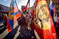 Roma 3 Ottobre 2015<br /> Manifestazione a sostegno del Presidente russo Putin, a  Piazzale Flaminio,  &ldquo;Io sto con Putin&quot; , per sconfiggere il terrorismo islamico, per fermare la crisi migratoria, per ritrovare la sovranit&agrave;&rdquo;. I manifestanti chiedono anche l&rsquo;immediata rimozione delle sanzioni alla Russia. La manifestazione &egrave; organizzata dal Comitato Italia-Russia e dal Vladimir Putin Italian Fan Club.La bandiera del Christos Pantokrator usata in battaglia dalla Milizia Ortodossa, in Donbass.<br /> Rome, October 3, 2015<br /> Rally in support of Russian President Putin, Piazzale Flaminio, &quot;I'm with Putin&quot;, to defeat Islamic terrorism, to stop the migration crisis, to regain sovereignty.The protesters are also demanding the immediate removal of sanctions on Russia.The event is organized by the committee Italy-Russia,  and  from Vladimir Putin the Italian Fan Club.The flag of Christos Pantokrator used in battle by the Militia Orthodox, in Donbass.