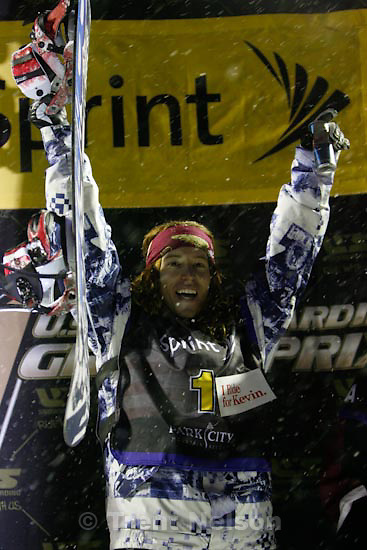 Trent Nelson  |  The Salt Lake Tribune.Shaun White celebrates his first place win, US Snowboarding Grand Prix at Park City Mountain Resort, Saturday, January 23, 2010.
