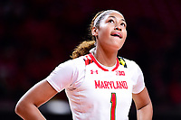 College Park, MD - NOV 29, 2017: Maryland Terrapins forward Shakira Austin (1) during ACC/Big Ten Challenge game between Gerogia Tech and the No. 7 ranked Maryland Terrapins. Maryland defeated The Yellow Jackets 67-54 at the XFINITY Center in College Park, MD.  (Photo by Phil Peters/Media Images International)