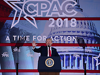 National Harbor, MD - February 23, 2018: President Donald J. Trump addresses attendees of the Conservative Political Action Conference (CPAC) at the Gaylord National Hotel in National Harbor, MD, February 23, 2018  (Photo by Don Baxter/Media Images International)
