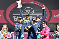 Gian Mattia D'Alberto / lapresse<br /> 31-05-2014 Zoncolan<br /> sport  ciclismo<br /> Giro d'Italia 2014<br /> tappa 20 Maniago - Zoncolan<br /> nella foto: super team, Movistar<br /> <br /> Gian Mattia D'Alberto / lapresse<br /> 31-05-2014 Zoncolan<br /> Giro d'Italia 2014<br /> stage 20 Maniago - Zoncolan<br /> in the photo: super team, Movistar<br /> <br /> <br /> <br /> <br /> <br /> <br /> <br /> ITALIA. 31-05-2014. Nairo Alexander  Quintana Rojas -Col- (Movistar) (en brazos) y sus compañeros celebran al recibir el premio Super Team después de su participación en la etapa 20 entre  Maniago y Monte Zoncolan con una distancia de 167 Km en la versión 97 del Giro de Italia hoy 22 de mayo de 2014. / Nairo Alexander  Quintana Rojas -Col- (Movistar) (on arms) and his  team mates celebrate to receive the award Super Team after their participation on the 20th stage between Maniago and Monte Zoncolan with a distance of 167 km in the 97th version of Giro d'Italia today May 22th 2014 Photo: VizzorImage/ Fabio Ferrari / LaPresse<br /> VizzorImage PROVIDES THE ACCESS TO THIS PHOTOGRAPH ONLY AS A PRESS AND EDITORIAL SERVICE AND NOT IS THE OWNER OF COPYRIGHT; ANOTHER USE HAVE ADDITIONAL PERMITS AND IS  REPONSABILITY OF THE END USER