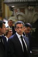 Nice le 15 Juillet 2016 Promenade des Anglais le lieu de l attentat perpÈtrer hier soir juste apres le feu d artifice du 14 Juillet dans la Cathedrale Sainte Reparate Vieux Nice Pour la Messe en homages aux victimes Nicolas Sarkozy