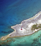 Aerial view Castle Island lighthouse on the Out Islands of the Bahamas.