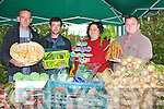 ....MARKET: On Saturday for the first time an Irish open market was in operation and selling some of their products l-r: John Doherty (Killarney), David Ahern (Killorglin), Mandy Trant (Listellick) and Brian Ferrister (Castlegregory)...... ..
