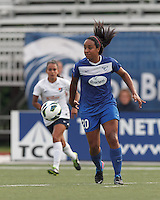 Boston Breakers midfielder Mariah Noguiera (20) controls the ball In a National Women's Soccer League Elite (NWSL) match, Sky Blue FC (white) defeated the Boston Breakers (blue), 3-2, at Dilboy Stadium on June 16, 2013.