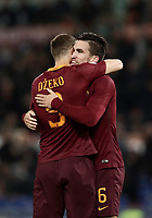 Calcio, Serie A: Roma, stadio Olimpico, 19 marzo, 2017<br /> Roma's Edin Dzeko (l) celebrates with his teammates Kevin Strootman (l) after scoring during the Italian Serie A football match between Roma and Sassuolo at Rome's Olympic stadium, March 19, 2017<br /> UPDATE IMAGES PRESS/Isabella Bonotto