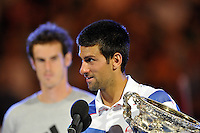 MELBOURNE, 30 JANUARY - Novak Djokovic (SRB) celebrates winning the men's singles final match against Andy Murray (GBR) on day fourteen of the 2011 Australian Open at Melbourne Park, Australia. (Photo Sydney Low / syd-low.com)