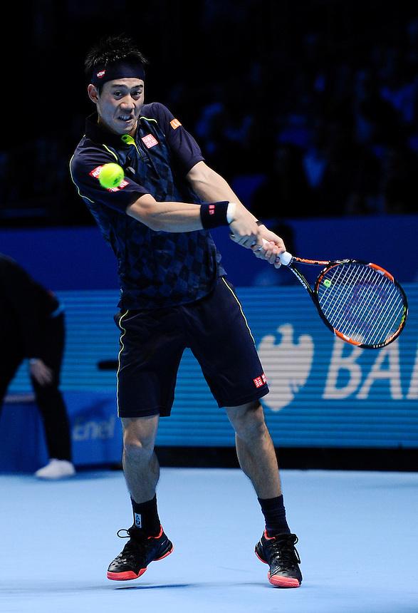 Kei Nishikori in action during his defeat to Novak Djokovic in their Stan Smith Group match today - Novak Djokovic def Kei Nishikori 6-1, 6-1<br /> <br /> Photographer Ashley Western/CameraSport<br /> <br /> International Tennis - Barclays ATP World Tour Finals - O2 Arena - London - Day 1 - Sunday 15th November 2015<br /> <br /> &copy; CameraSport - 43 Linden Ave. Countesthorpe. Leicester. England. LE8 5PG - Tel: +44 (0) 116 277 4147 - admin@camerasport.com - www.camerasport.com