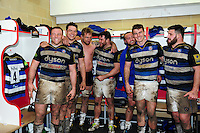Bath Rugby players are all smiles in the changing rooms after the match. Aviva Premiership match, between Gloucester Rugby and Bath Rugby on March 26, 2016 at Kingsholm Stadium in Gloucester, England. Photo by: Patrick Khachfe / Onside Images