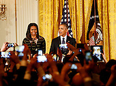 United States President Barack Obama and First Lady Michelle Obama attend a Hanukkah reception in the East Room of the White House, December 14, 2016, Washington, DC. <br /> Credit: Aude Guerrucci / Pool via CNP