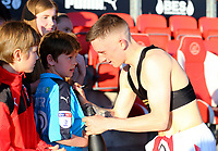 Fleetwood Town&rsquo;s Ashley Hunter signs the shirt of Fleetwood Town fan<br /> <br /> Photographer Leila Coker/CameraSport<br /> <br /> The EFL Sky Bet League One - Fleetwood Town v Walsall - Saturday 5th May 2018 - Highbury Stadium - Fleetwood<br /> <br /> World Copyright &copy; 2018 CameraSport. All rights reserved. 43 Linden Ave. Countesthorpe. Leicester. England. LE8 5PG - Tel: +44 (0) 116 277 4147 - admin@camerasport.com - www.camerasport.com