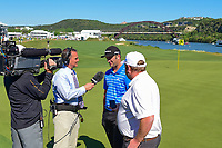 Jon Rahm (ESP) is interviewed after defeating Charles Howell III (USA) on 14 during round 4 of the World Golf Championships, Dell Technologies Match Play, Austin Country Club, Austin, Texas, USA. 3/25/2017.<br /> Picture: Golffile | Ken Murray<br /> <br /> <br /> All photo usage must carry mandatory copyright credit (&copy; Golffile | Ken Murray)
