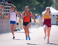 LaShauna Porter '20 finished 1st in the 100 and 200 Meter Dash. Porter, a former 200m All-American, was the only woman under 25 seconds in the 200m at 24.75 and ran 12.03 in the 100m for a pair of SCIAC Championships. She also ran the third leg on Oxy's third-place 4x100m relay team.<br /> The Occidental College men's and women's track and field teams compete in the 2019 Southern California Intercollegiate Athletic Conference (SCIAC) Track and Field Championships at the Claremont-Mudd-Scripps Burns Track Complex in Claremont, Calif. on Saturday, April 27, 2019.<br /> After the two-day SCIAC Championships CMS scored 211.50 points, followed by Pomona-Pitzer (171.50), Redlands (114), Occidental (92.50), Whittier (57.50), La Verne (54), Cal Lutheran (48), Chapman (23) and Caltech (4). <br /> <br /> (Photo by Eddie Ruvalcaba, Image of Sport)