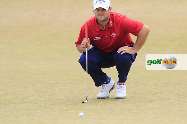 Patrick Reed (USA) lines up his putt on the 17th green during Thursday's Round 1 of the 2015 U.S. Open 115th National Championship held at Chambers Bay, Seattle, Washington, USA. 6/18/2015.<br /> Picture: Golffile | Eoin Clarke<br /> <br /> <br /> <br /> <br /> All photo usage must carry mandatory copyright credit (&copy; Golffile | Eoin Clarke)