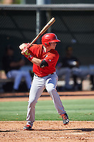Los Angeles Angels of Anaheim Connor Justus (33) during an Instructional League game against the Colorado Rockies on October 6, 2016 at the Tempe Diablo Stadium Complex in Tempe, Arizona.  (Mike Janes/Four Seam Images)