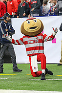 Indianapolis, IN - December 1, 2018: Ohio State Buckeyes mascot Brutus during the Big Ten championship game between Northwestern  and Ohio State at Lucas Oil Stadium in Indianapolis, IN.   (Photo by Elliott Brown/Media Images International)