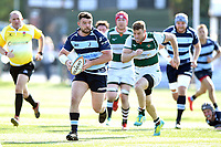 Huw Worthington of Bedford Blues goes on the attack. Greene King IPA Championship match, between Ealing Trailfinders and Bedford Blues on April 20, 2019 at the Trailfinders Sports Ground in London, England. Photo by: Patrick Khachfe / Onside Images