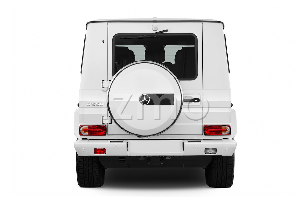 Straight rear view of 2016 Mercedes Benz G-Class G550 5 Door SUV Rear View  stock images