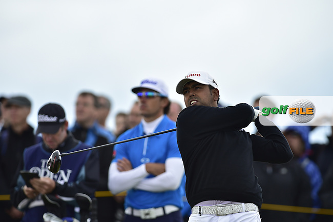 Anirban Lahiri (IND) tees off the 13th tee during Friday's Round 2 of the 144th Open Championship, St Andrews Old Course, St Andrews, Fife, Scotland. 17/07/2015.<br /> Picture Eoin Clarke, www.golffile.ie