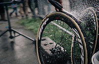 cleaning CX world champion's Wout Van Aert (BEL/Crelan-Charles) wheels <br /> <br /> Super Prestige Ruddervoorde / Belgium 2017