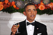 United States President Barack Obama offers a toast during the National Governors Association 2013 Black-tie Dinner in the State Dining Room of the White House in Washington, D.C., February 24, 2013. .Credit: Olivier Douliery / Pool via CNP