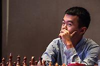 26th November 2019, Kolkata, India, Grand Master Tata Steeel Chess tournament;  Ding Liren of China competes during blitz round 15 against Pentala Harikrishna not seen in photo of India at Tata Steel Chess India 2019