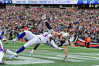 Sunday, October 2, 2016: New England Patriots wide receiver Danny Amendola (80) has a catch disrupted by Buffalo Bills strong safety Aaron Williams (23) during the NFL game between the Buffalo Bills and the New England Patriots held at Gillette Stadium in Foxborough Massachusetts. Buffalo defeats New England 16-0. Eric Canha/Cal Sport Media