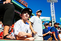 BOSTON, MASS. - SEPT. 28, 2014: People stand near the Yankees dugout before the New York Yankees and Boston Red Sox play at Fenway Park. The game is last game of Derek Jeter's career. M. Scott Brauer for The New York Times